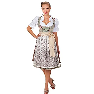 Edelnice Trachtenmoden 2-Piece Dirndl Dress Authentic Bavarian Floral Exlusive,Green, GE38/US8