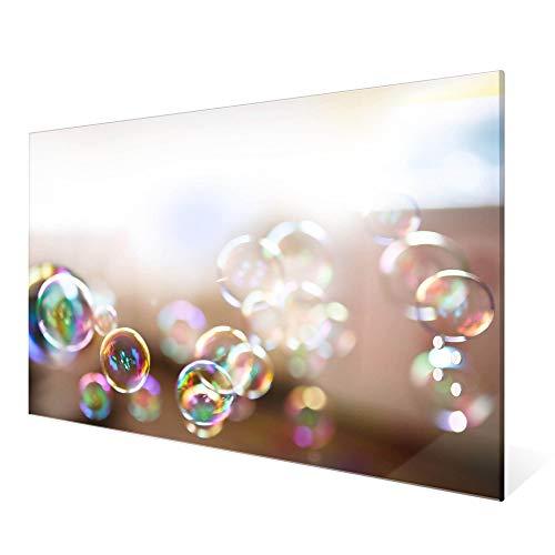 BANJADO Glas Magnettafel mit 4 Magneten   Magnetwand 60x40cm groß   Memoboard beschreibbar perfekt für die Küche   Magnetboard groß mit Motiv Seifenblasen