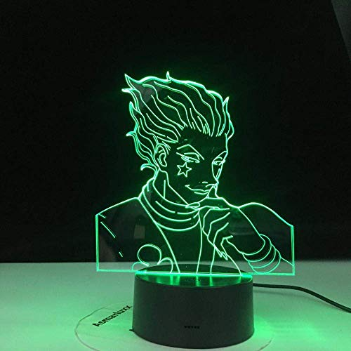 Lámpara De Ilusión 3D Luz De Noche Led Regalo Para Niños Sensor Táctil Dormitorio Colorido Anime Hunter Decoración Cool Hisoka Gadgets El Mejor Cumpleaños Para Niños Regalos De Vacaciones