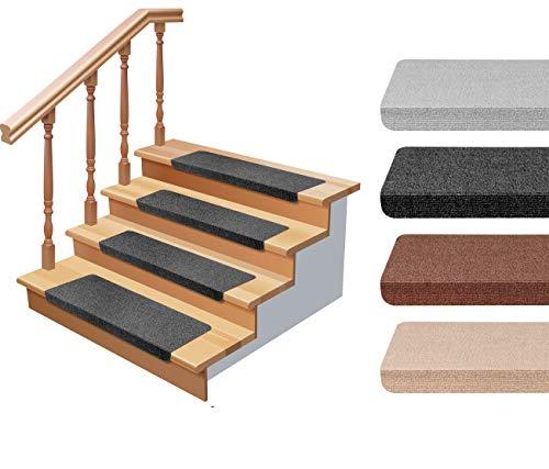 StickandShine Stufenmatte in schwarz eckig für Treppenstufen, Treppenstufenmatte zum aufkleben