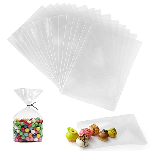 Bolsas Celofan, 200 Unidades Bolsas Transparente, 15 x 20 cm Bolsas Plastico de Regalo para Galletas Dulces Tortas de Dulces Magdalenas de Chocolate Piruletas