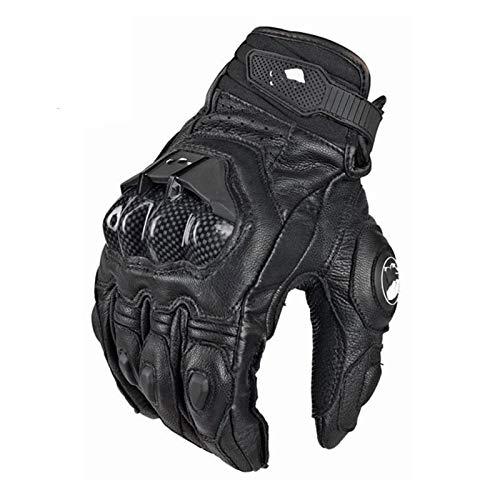 YGLONG Guantes Moto Fibra Guantes de Motocicleta Transpirable Motocross Ciclismo Protector Guante Glove Sports (Color : Leather Black, Size : XL)