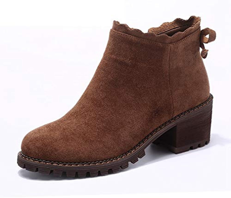 T-JULY Women's Suede Ankle Zipper Pumps Boots Faux Suede Plush Square Heel Winter Warm Booties