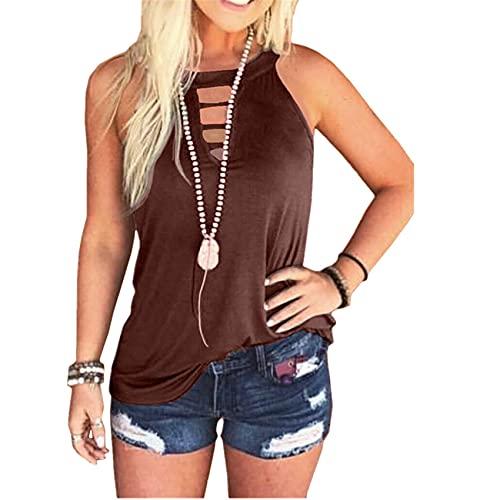 Camiseta De Chaleco De Cuello Redondo De Moda para Mujer De Primavera Y Verano Top Casual