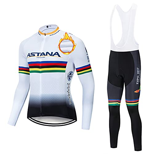 ASHBEIK Abbigliamento Ciclismo Uomo Invernale, Tuta Bici Termico Maniche Lunghe +Termica Pantaloni Lunghi con 5D Gel Cuscino per Ciclista di Bici da Strada