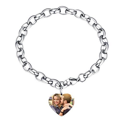 U7 Dije Corazón Pulsera con Foto Personalizable Cadena Acero Inoxidable 316L Regalo Romántico para Valentín Cumpleaños Joyerías de Moda con Caja de Regalo