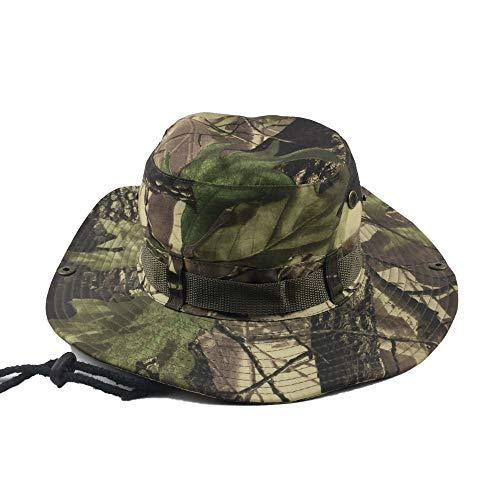 LQ-MAOZI Outdoor Fisherman Hat Geeignet Für Dschungel/Verkleidung Bionic Leaves/Klettern/Angeln Camouflage Round Hat 56-60cm (Farbe : Dunkelgrün)