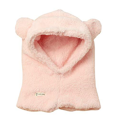 aby Warme wintergebreide muts voor kinderen, pluche, wol, muts met schattige oorflap, capuchon, skipet
