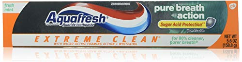 Aquafresh Extreme Clean Pure Breath Action, Fresh Mint, 5.6 Ounce, Pack of 2