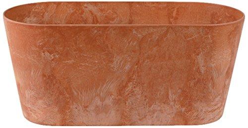 Artstone Pflanzgefäß Balkonkasten Claire, frostbeständig und leichtgewichtig, Terra, 38x16x17cm