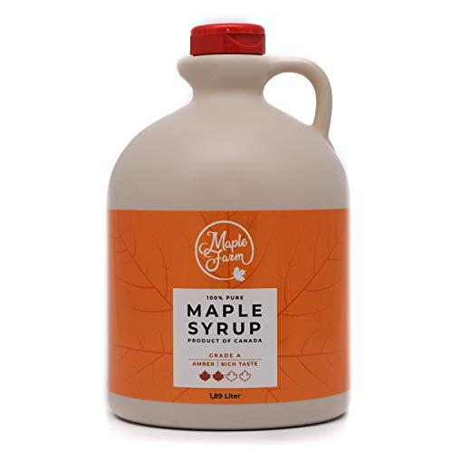 Jarabe de arce Grado A (Amber, Rich taste) - 1,89 litros (2,5 Kg) - Miel de arce - Sirope de Arce - Original maple syrup