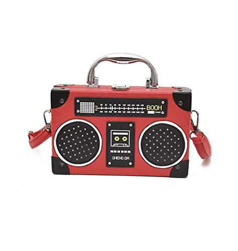 QING Bolso Clásico de Diseño de Forma de Radio Para Mujer con Correa Para el Hombro y Broche de Metal (Rojo)