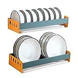 Estante de secado del plato Colgando Plato de secado Estante de la pared Estante de secado de platos de pared con soporte de utensilio, gabinete de cocina Rack de placa de almacenamiento con tablero d