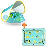 Free Swimming Baby Inflatable Baby Pool Float with Canopy & Baby Tummy Time Water Mat for The Age of 3-72 Months