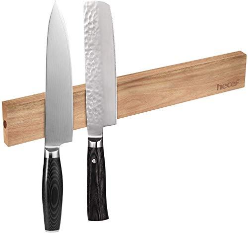 Hecef 12 Zoll(30cm) Magnetiscsher Messerhalter, Akazie Holzmesserhalter für die Lagerung aller Arten von Gegenständen aus Metall.