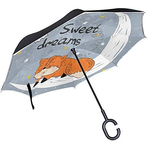 Wheatleya Ombrello Ombrelli inverso per Auto Protezione Antivento Pieghevole con Manico a Forma di Volpe addormentata