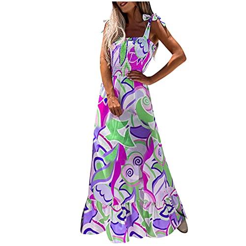 Lalaluka Bandeau Kleid Damen Kleider langSpaghetti Regenbogen Druck Trägerkleid Blumenkleid Strandkleid MaxiKleid