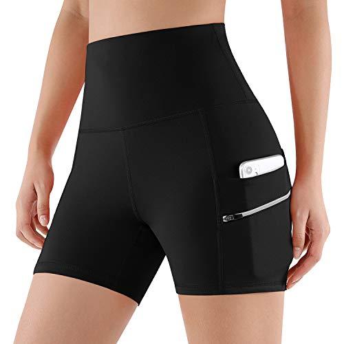 ODODOS High Waist Out Pocket Yoga Short Tummy Control Workout Running Athletic Non See-Through Yoga Shorts,NavyHeather,Medium