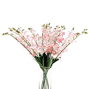"""Suandsu 10pcs Artificial Dendrobium Flowers Fake Orchid Flower Table Kitchen Home Garden Party Wedding Decoration Approx 26"""" High Pink"""