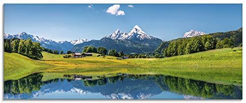 Artland Küchenrückwand Glas mit Motiv Spritzschutz Küche 125x50 cm Natur Landschaft See Himmel Wiese Wald Berge Alpen Panorama T9QB