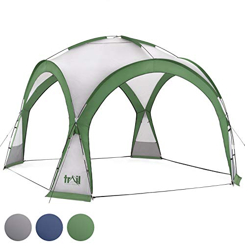 Dome Event Shelter, Large Garden Camping Shelter With Sides, Portable Outdoor Gazebo, Waterproof & UV Resistant Canopy, 4 Removable Doors & Sunshades, 12.25m², 3.5m x 3.5m x 2.3m, Trail