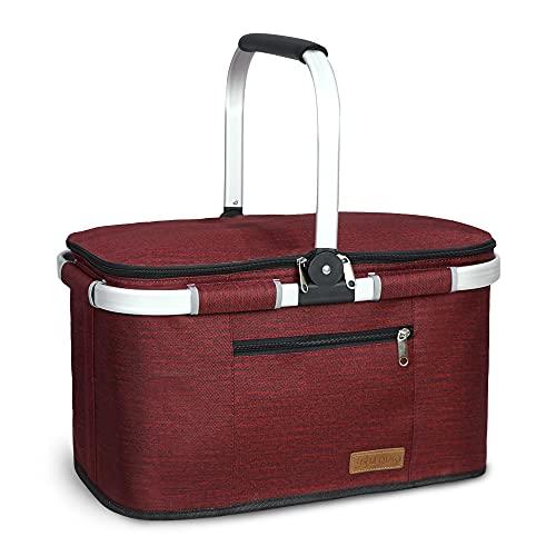 LIQING 35L Kühltasche Picknicktasche Einkaufskorb Große isolierte Kühlkorb Lunchtasche Thermo Tasche für Büro Camping Picknick Reisen… (Wine red)