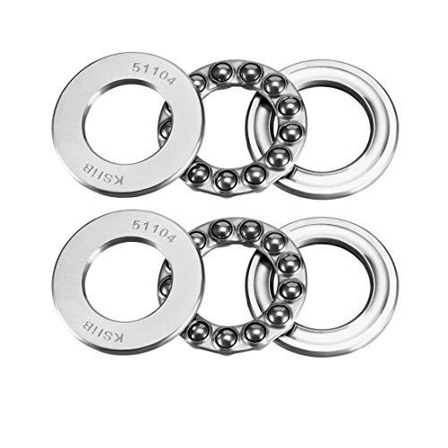 uxcell 51104 Thrust Ball Bearings 20mm x 35mm x 10mm Chrome Steel ABEC3 Single Row Roller 2pcs