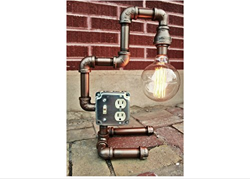 Steampunk Lamp Table Lamp - Steampunk lighting, industrial pipe decor, Bronze Metal Pipe light fixture - Industrial Lighting w/ Edison Bulb industrial lighting