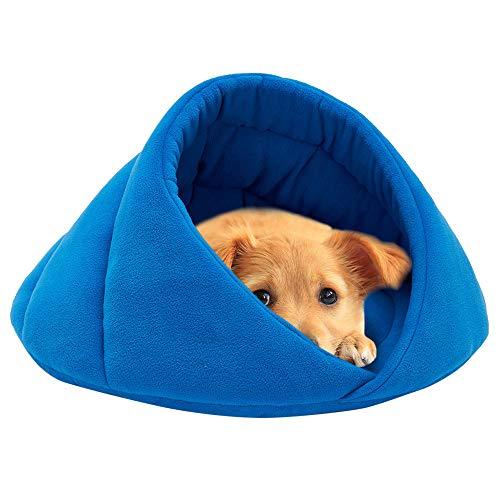 ODJOY-FAN Weich Vlies Winter Warm Haustier Hund Bett Klein Hund Katze Schlafen Tasche Hündchen Höhle Betten Käfige Hütten Höhlen Hundehütten Kleintierbetten(Blau,M)