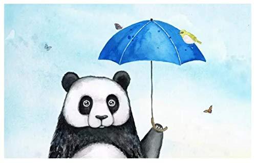 Mooie panda paraplu dier kleine vogel fris en mooie kinderkamer muurschildering (H)350*(B)245cm Pro