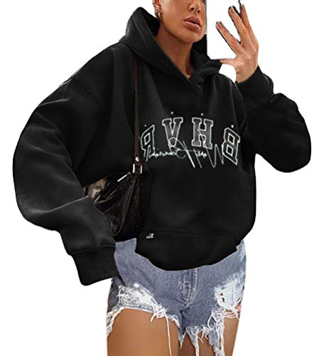 Shownicer Kapuzenpullover Für Damen Herbst Winter Hoodie Letter Print Sweatshirt Lose Casual Langarm Hip Hop Langarmshirt Pullover mit Kapuze Sport Outerwear Schwarz S