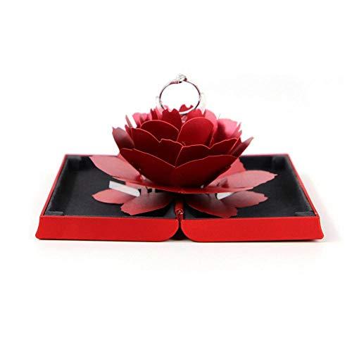 leegoal Boîte à Bijoux rectangulaire avec Rose pliée pour Les Amoureux (Bague Non Incluse)