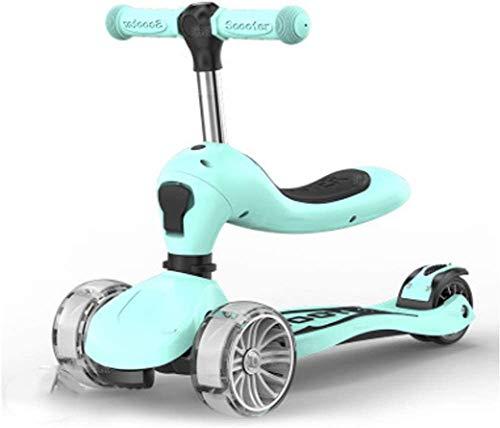 HFJKD Kids scooter auto voor kinderen 2-9 jaar skater Surf scooter Flash wiel opvouwbare 2 in 1 scooter loopstoeltje Buitenspeelgoed