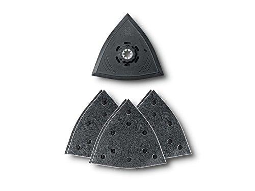 Fein 63806204210 Schleifplatte Dreiecksform gelocht Kunststoff-Trägerplatte mit Kletthaftteil, Schwarz