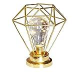 Diamond Table Lamp,WONFAST Copper Metal Basket Cage Creative Geometry Style Bulb Desk Decoration Light Bedside Lamp Night Light for Bedroom Living Room Kids Room (Gold)