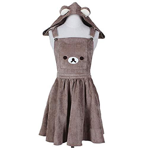 Vestido Lolita Lolita Vestido Streetwear Shirt Vestido Lolita Vestido Japonés A-Line Vestido Lindo Oso Bordado Vestido Harajuku Lolita Vestido (Color : 1, Size : Medium)