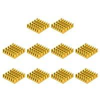 uxcell ヒートシンク 19x19x5mm アルミニウム 電子ラジエーター MOS ICチップ用 ゴールドトーン 10個