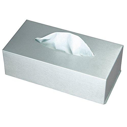 Ribelli Kosmetikbox für Kosmetiktuch - eine Taschentuchbox ca. 24,5 x 13 x 7 cm aus Edelstahl matt - Tücherbox für Kosmetiktücher Box mit Wandbefestigung