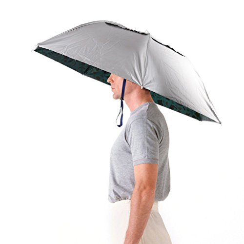 Aoneky Sombrero de Paraguas de Cabeza - Paraguas Plegable de Manos libres para Mujer Hombre, Paraguas Grande para Pesca Senderismo Jardinería Fotografía, Accesorios al Aire Libre, Paraguas de Golf