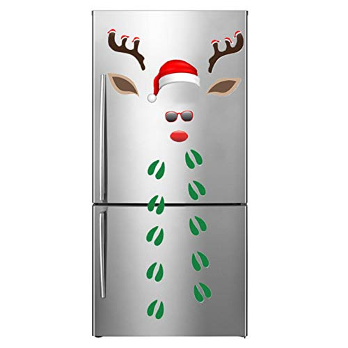 Buding Decoración navideña con gorro de Navidad, para nevera, puerta de garaje, para frigorífico, lavavajillas, Navidad, puerta de garaje, decoración de Navidad, ventana o coche
