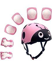 UniqueFit Lucky-M Kinderbeschermingsset voor jongens en meisjes, set van 7 stuks, voor outdoor sporten, kniebeschermers en polsbescherming, voor scooter, skateboard, fiets