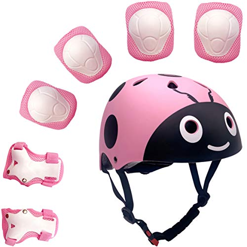 Kinder 7 Stücke Outdoor Sports Schutzausrüstung Set Jungen Mädchen Fahrradhelm Sicherheit Pads Set [Knie Ellbogenschützer und Handgelenkschutz] für Roller Scooter Skateboard Fahrrad (Pink Käfer)