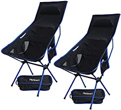 2 Pack Portable Camping Chairs Long Back Lightweight Folding Backpacking Chair Compact & Heavy Duty for Camp, Backpack, Hiking, Beach, Picnic, with Carry Bag