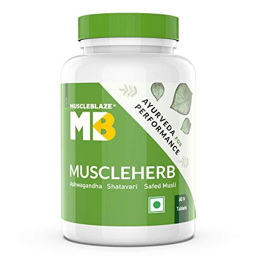 MuscleBlaze MuscleHerb, Ashwagandha, Shatavari and Safed Musli, For Muscle Gain & Performance, 60 Tablets