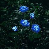 Luz solar decorativa, lámpara con forma de flor color de rosa, adorno para jardín de patio, a prueba de lluvia al aire libre, azul