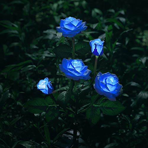 New Material Outdoor Realistic Solar Powered Rose Lights Flower Stake, for Garden Patio Yard Pathway Decoration, Blue
