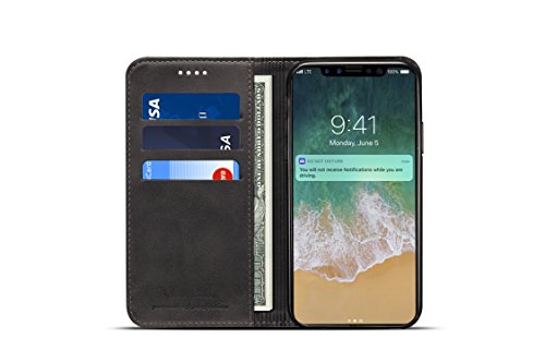 iPhone X Leather Case,taStone Premium PU Leather Wallet Case with Kickstand Flip Cover Stylish Slim Shock-Proof Protective Case with Viewing Stand and Card Slots for 5.8 inch iPhone X,iPhone XS,Black