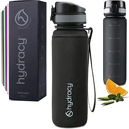 Hydracy Botella de Agua 1 Litro con Marcador de Tiempo - Sin BPA con Filtro de Infusión de Frutas - Antigoteo y sin Sudor - Ideal para el Ejercicio y los Deportes al Aire Libre - Space Grey