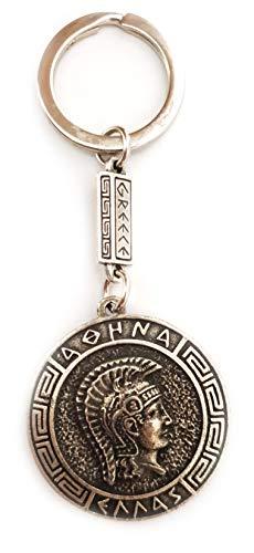 IconsGr Llavero de Moneda Antigua Atenea Escudo de la Diosa Athena Llavero 2