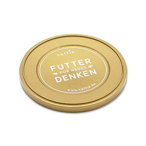 naftie Dosendeckel | Plastik-Deckel für 400g & 200g Hundefutter Katzenfutter Dosen | Farbe Gold (5er Set)